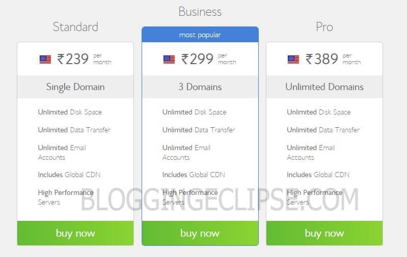 Bluehost India U.S Server pricing