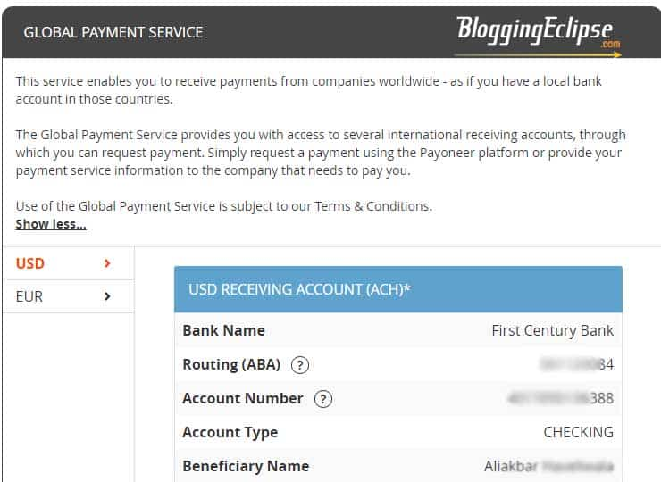 Payoneer U.S Account details