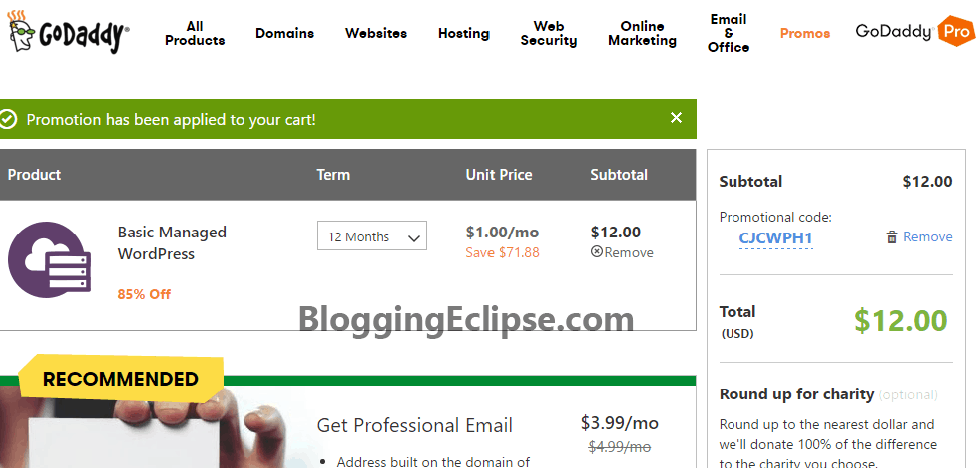 Godaddy WP Hosting Cart