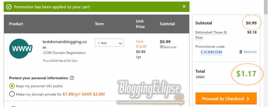 Godaddy $1 discount coupon shopping cart