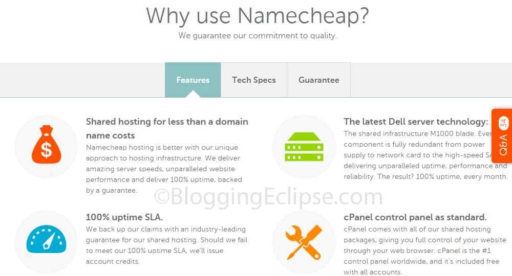 nameCheap features