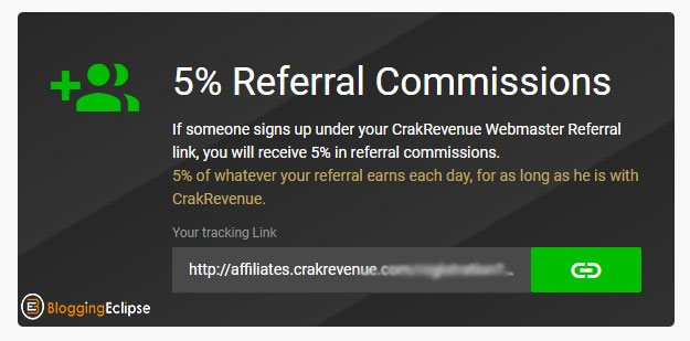 Crakrevenue-Referrals commission