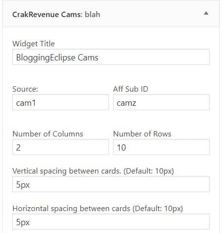 CrakRevenue Live cam Widget
